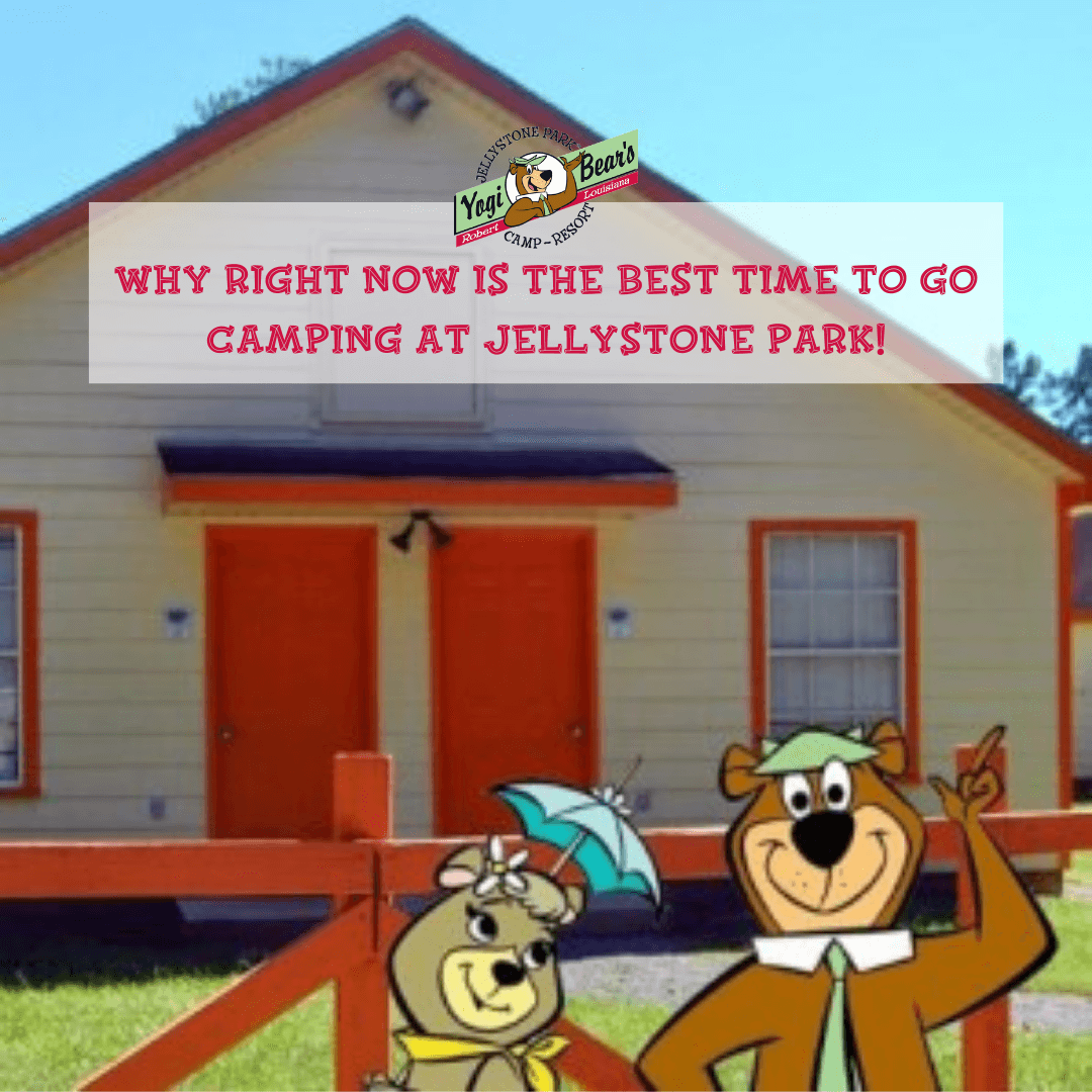 Yogi Bear characters in front of one of the yellow with red trim cabins available for camping at Yogi Bear Campground in Robert La.