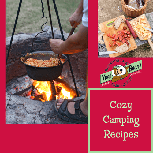 Cozy Camping Recipes with Yogi Bear Campground, Robert La.; man cooking a pot of chili over an open fire at campground