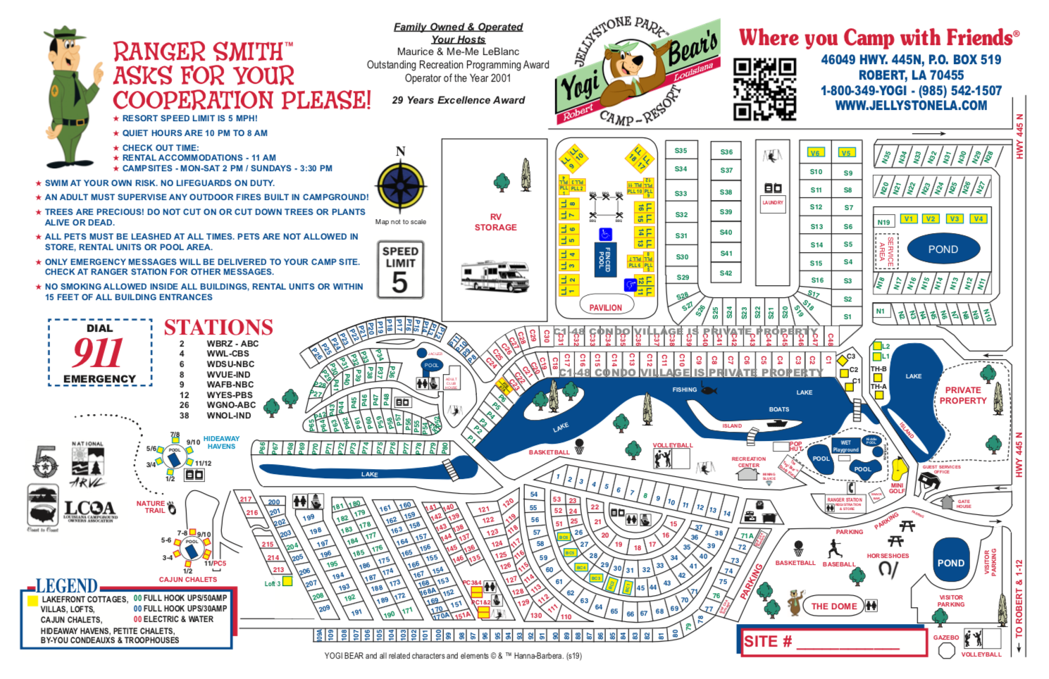 map of Yogi Bear's Jellystone Park in Robert, Louisiana